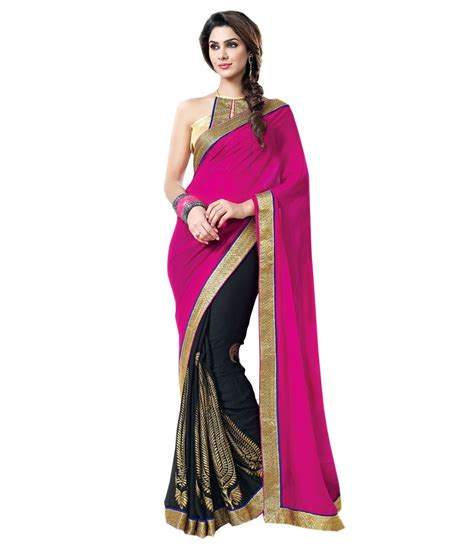 snapdeal online shopping for women blue woman black and pink saree buy blue woman black and