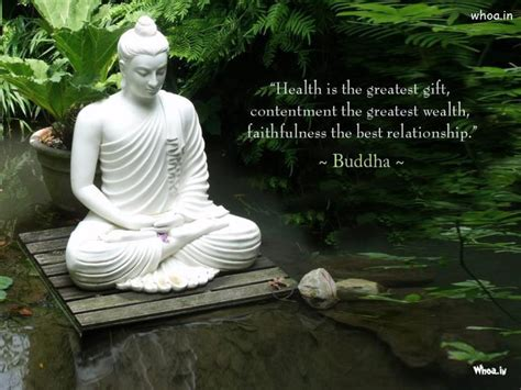 white lord buddha statue  quote  natural background