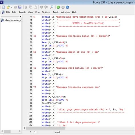 print screen section membuat program dengan bahasa pemrograman fortran build