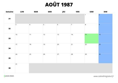 Calendrier 9 Janvier 1987 Calendrier D Ao 251 T 1987 224 Imprimer Ou Consulter