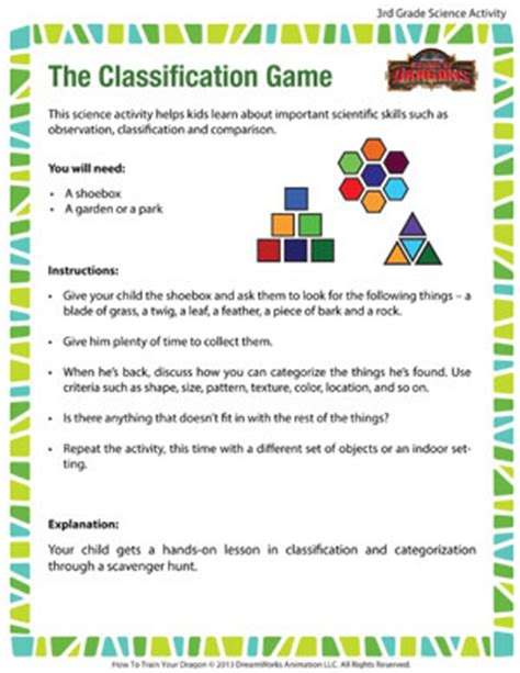 printable science games the classification game 3rd grade science activities