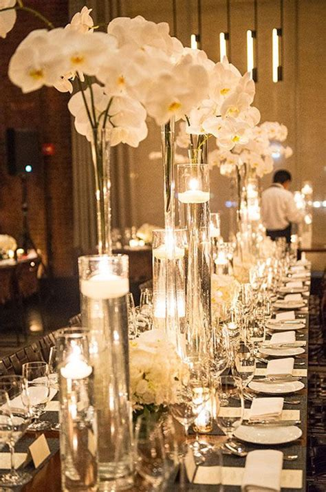 winter white orchid wedding reception orchid