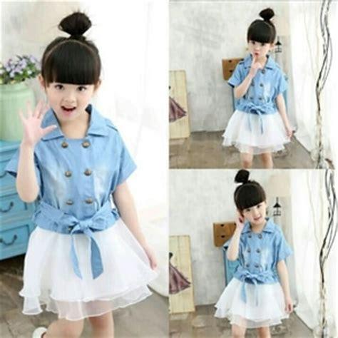 Polkadot Dress Anak Perempuan Baju Cewek Lucu Gaun Pesta Dres setelan baju anak perempuan denim 3 in 1 terbaru lucu