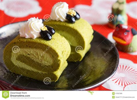 new year green tea cake green tea roll cake japanese dessert stock image image