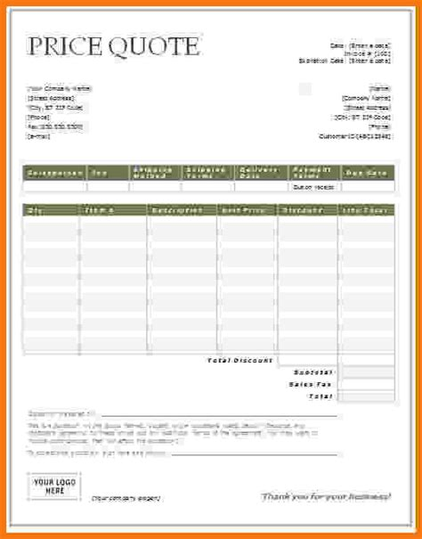 excel quote template business letter for price quotation sales letter design