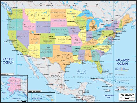 united states of america and canada map political map of united states of america ezilon maps