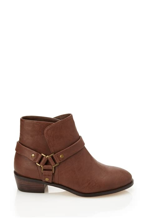 boots shoes for forever 21 harness ankle boots in brown lyst