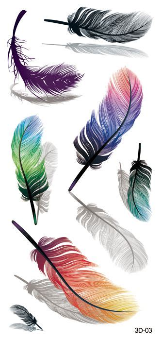 colored feather tattoo flash realistic 3d waterproof feather color