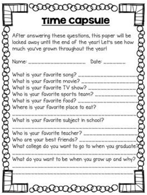 printable time capsule sheets freebie time capsule worksheet for your kids to complete