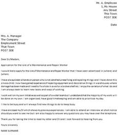 cover letter for maintenance worker maintenance and repair worker cover letter exle cover