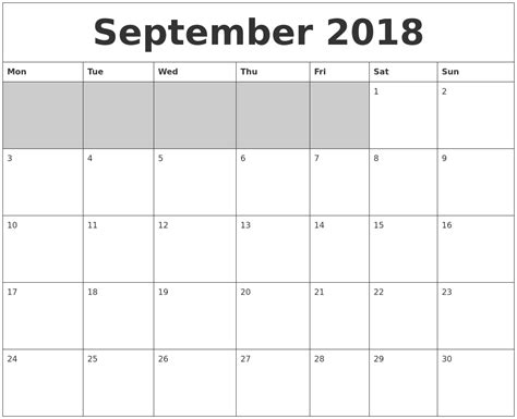 printable calendar sept 2018 september 2018 blank printable calendar