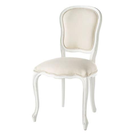 chaise pour coiffeuse chaise en coton et bois blanche versailles maisons du monde