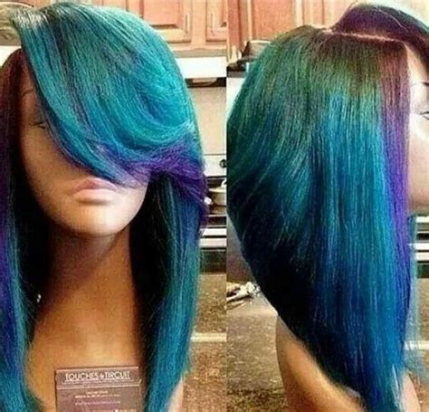 sew in bobs hairstyles in auburn colors turquoise and purple highlights hair bob hair color