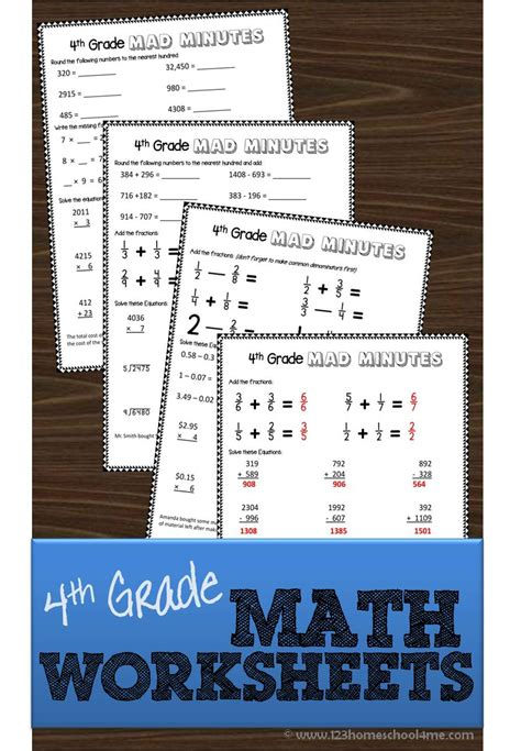 4th grade math worksheets
