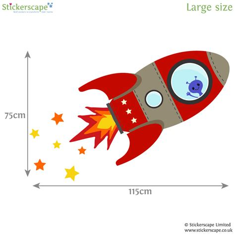 rocket wall sticker flying rocket wall sticker stickerscape uk