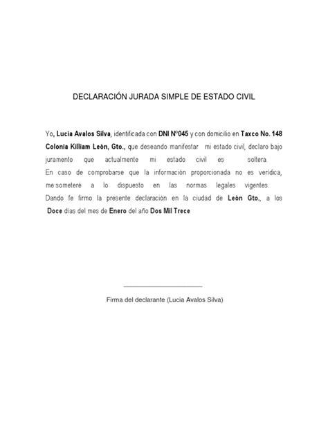 10 declaracion jurada simple solteria declaraci 211 n jurada simple de estado civil