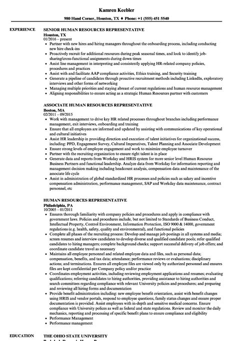 Human Resources Representative Sle Resume by Human Resources Representative Sle Resume Learning And Development Specialist Sle Resume
