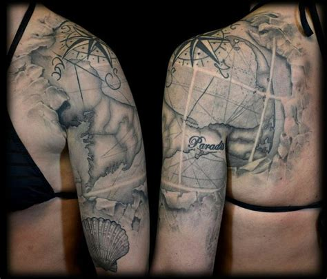 map tattoo sleeve 111 best images about s on compass