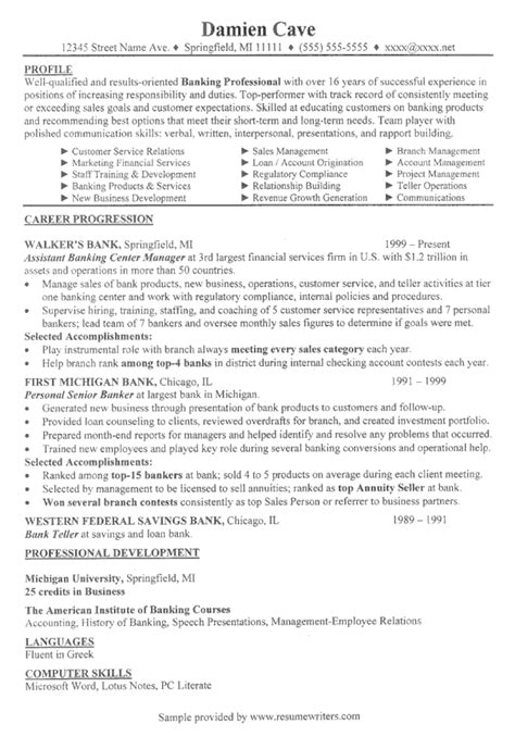 Resume Sle For Banking Sales Banking Executive Resume Exle Financial Services Resume Sles
