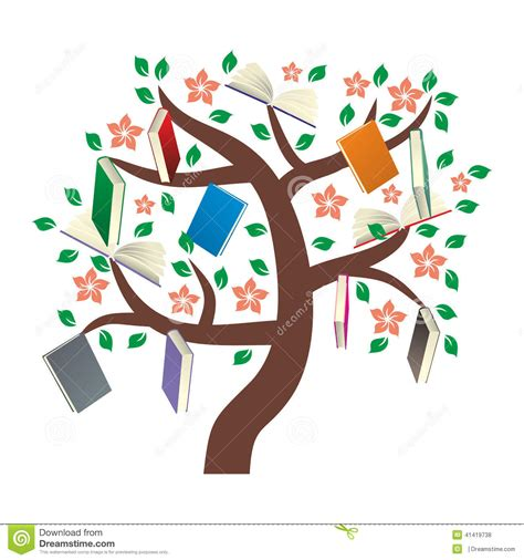 the art of children s picture books tree houses knowledge tree with leaves stock vector illustration of