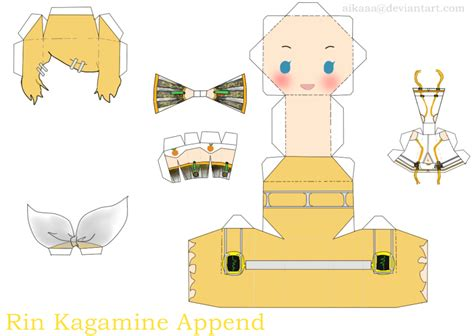 Vocaloid Papercraft - rin kagamine append papercraft by aikaaa on deviantart