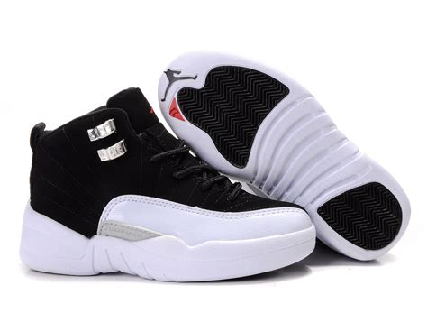 white jordans shoes children air 12 white black shoes