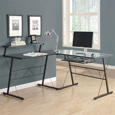 L Shaped Desk Black Shop Monarch Specialties Black L Shaped Desk At Lowes