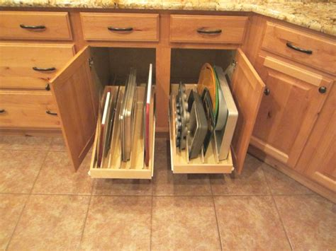 kitchen cabinet pull out drawer organizers pan lid cooking sheet organizer pull out shelves by