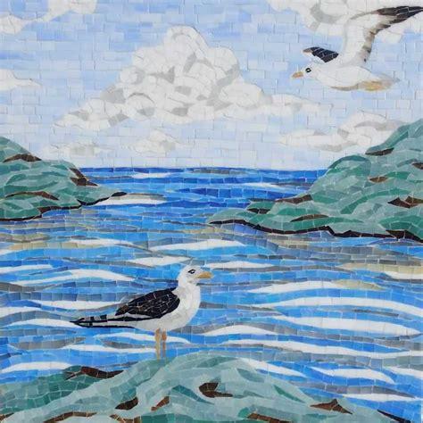 beach glass mosaic mosaic tile   tilery   england  cape  tile experts