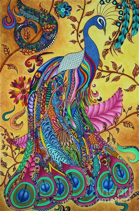 Metal Dragonfly Garden Art - peacock painting by rebeca rambal