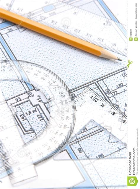 floorplan tools geometric tools and a floor plan stock photo image 884638