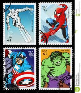 united states superhero postage stamps editorial image