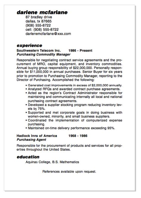 exle of purchasing commodity manager resume http