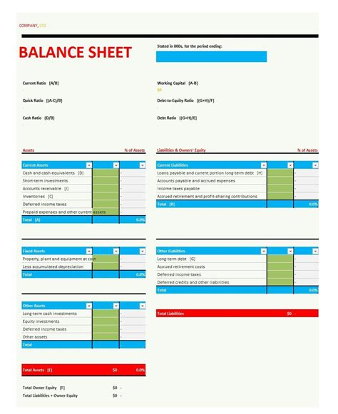 balance sheet template excel simple balance sheet template for