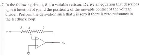 function of resistor variable in the following circuit r is a variable resistor chegg