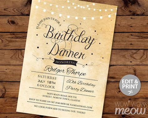 invitation template for birthday with dinner elegant birthday dinner party invite instant download
