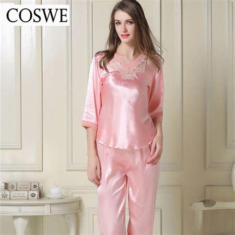 Piyama Pajamas Pink Plus Size Pajamas Pink White Silk Satin Pajamas Suit