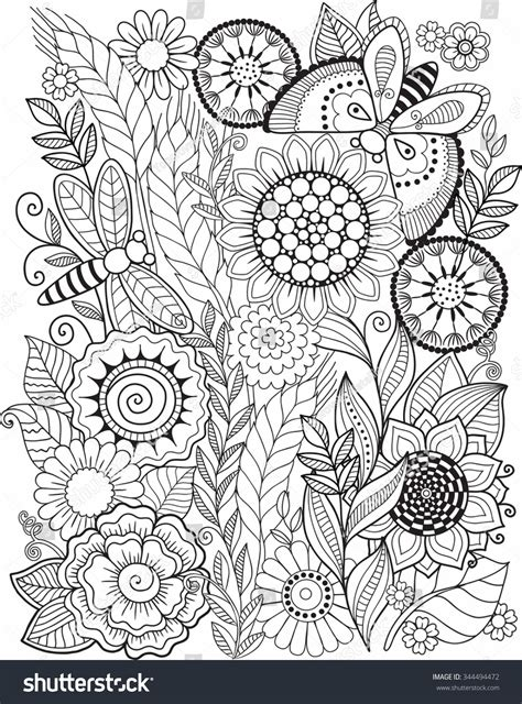 coloring pages for adults vector coloring book adult summer flowers vector stock vector