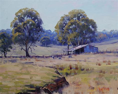 Landscape Artist Of The Year 2015 Sheep Farm Landscape Painting By Graham Gercken