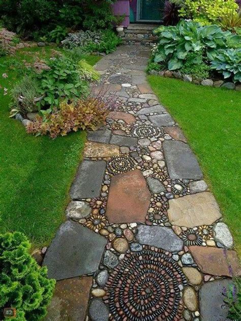 mosaic stone and pebble path garden walkways pinterest walkways mosaic walkway and mosaic