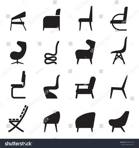 Folding Armchair Chair Icons Set Side View Stock Vector 350510693