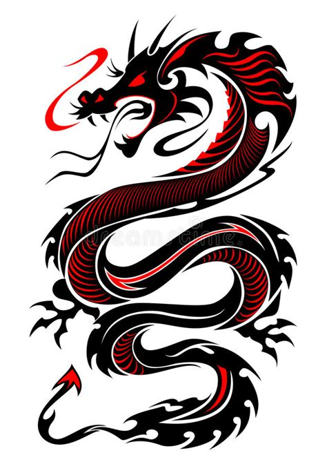 flaming tribal dragon tattoo stock vector illustration
