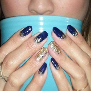navy blue with gold acrylic design acrylic nail] with 28+ More Ideas