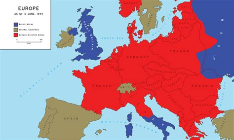 map of europe as of june 6 1944 ww2