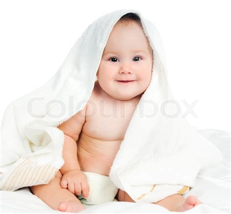 Small Child In A Towel On A White Background Stock Photo Colourbox Small Children Images