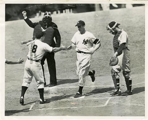 lot detail 1948 joe dimaggio home run original wire photo