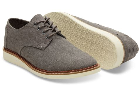 toms mens shoes lyst toms waxed twill brogues in gray for