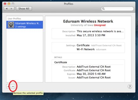 its help desk uiowa removing saved network profile in mac os x information