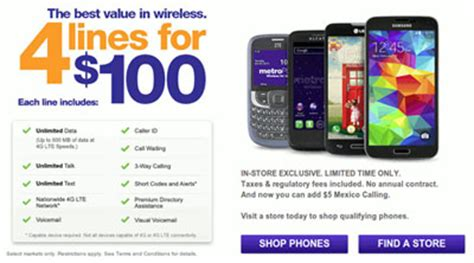 metropcs family plan promotion, four lines for $100