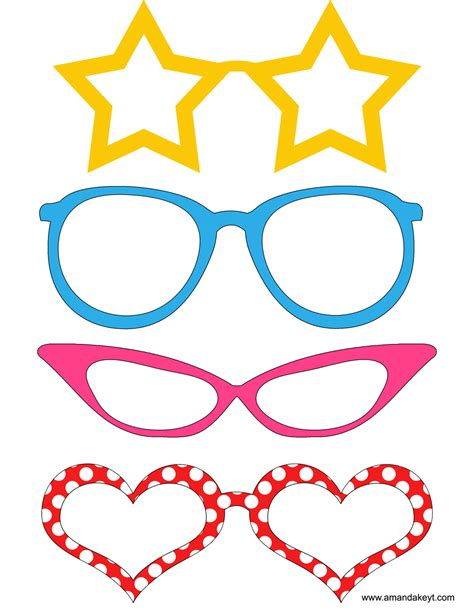Printable Photo Booth Props Glasses | mouse printable photo booth props amanda keyt designs